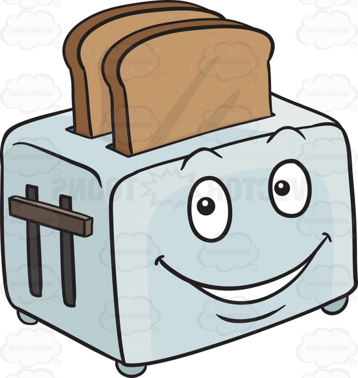 banner free download Toaster clipart happy. Popping out breads emoji.
