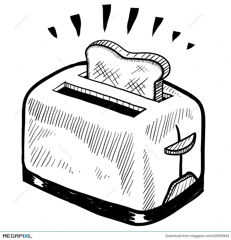 clipart library Toaster clipart sketch. Illustration megapixl