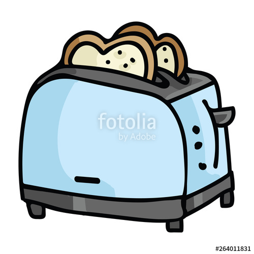clip royalty free Cute vintage toast cartoon. Toaster clipart small appliance