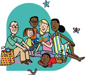 vector free library Together clipart reading. Family clip image talking