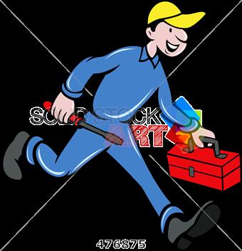 graphic free Stock Illustration of Cartoon handyman in blue uniform with yellow