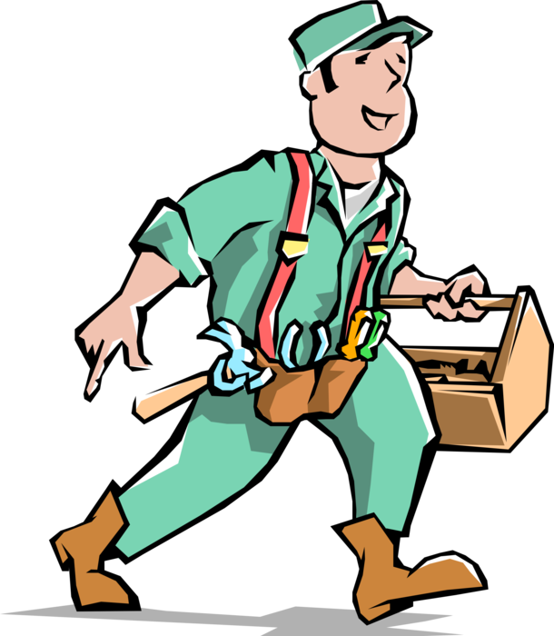 vector free stock Handyman with Carpentry Toolbox and Belt