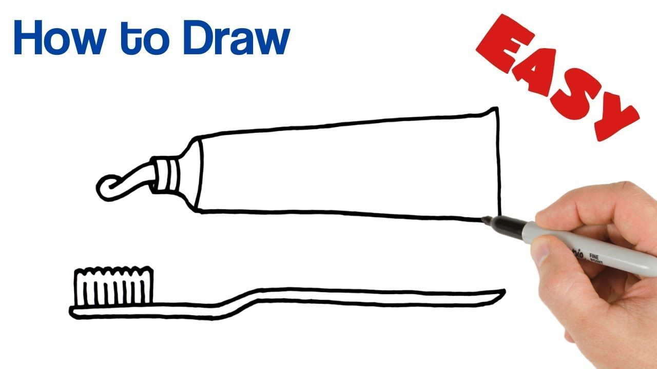 banner free Toothpaste drawing. How to draw and