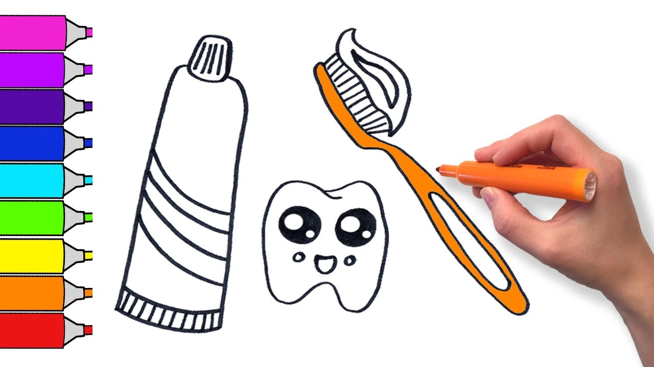 image freeuse library Toothpaste drawing. Learn to draw cute