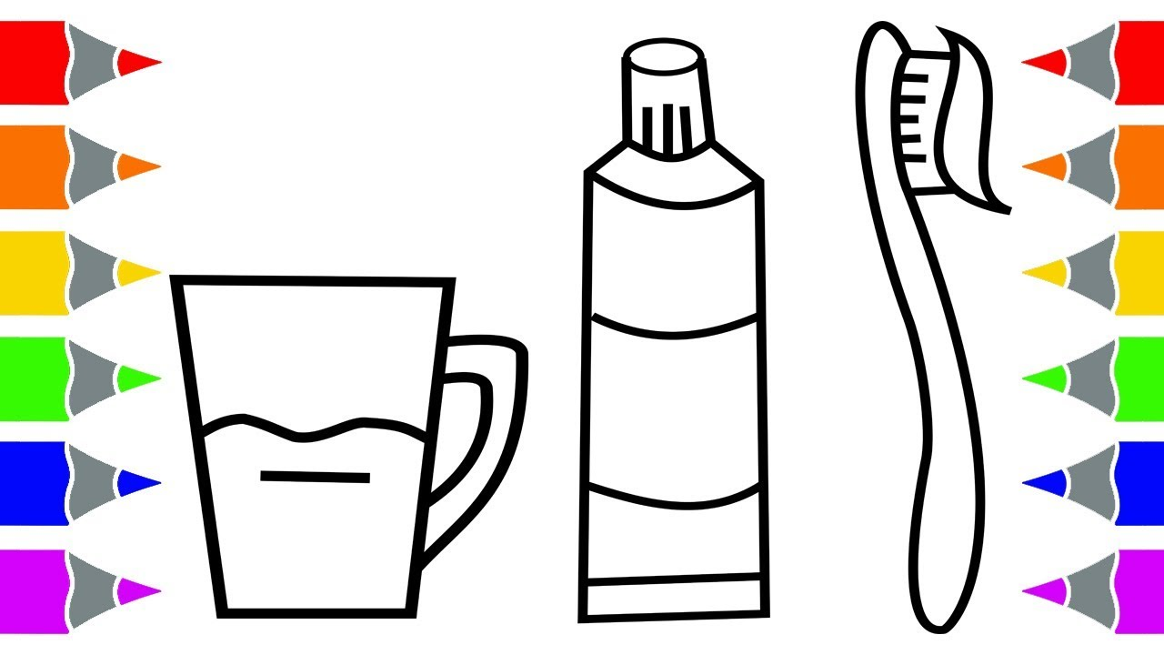 clipart freeuse Toothbrush and learn color. Toothpaste drawing