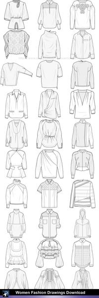 clip art library library  women fashion drawings. Tops drawing