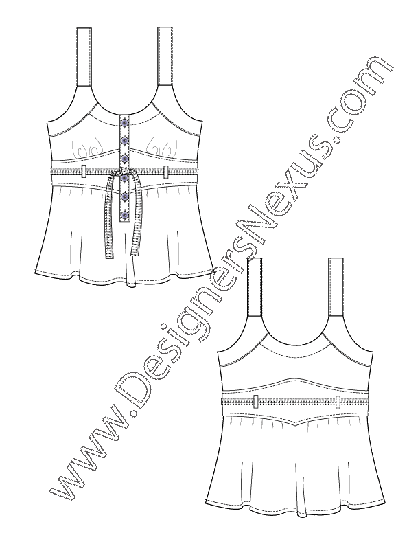 transparent Tops drawing. Flat sketch belted tank