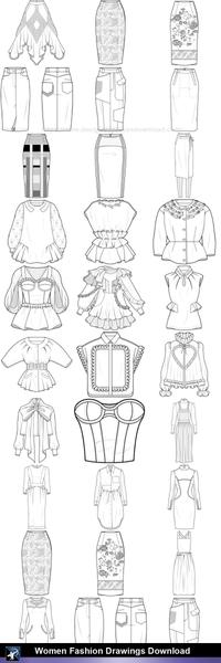 picture transparent library Tops drawing.  women fashion drawings