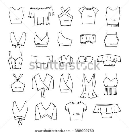 black and white Tops drawing. Hand drawn vector clothing
