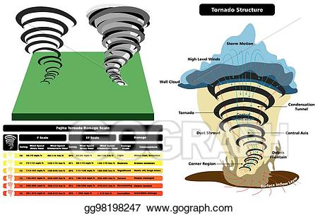 image stock Tornado clipart wind damage. Eps illustration structure infographic