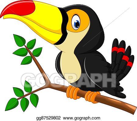 banner freeuse stock Toucan vector. Art cartoon happy bird