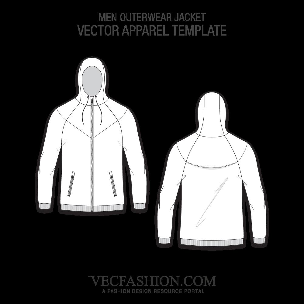 jpg library Sportswear vecfashion men outerwear. Vector clothing template
