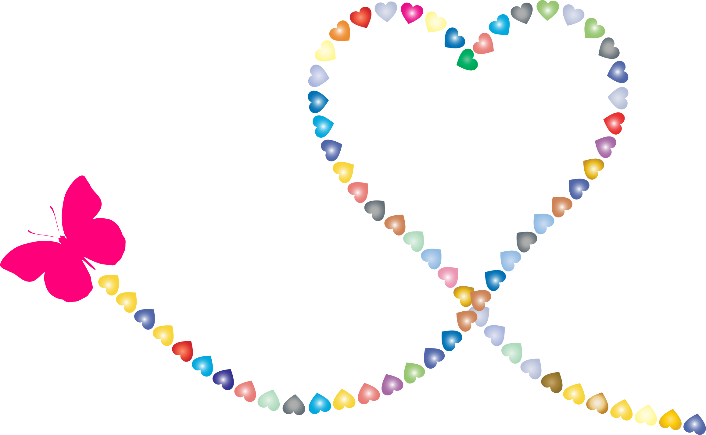 picture library Trail clipart. Butterfly hearts big image