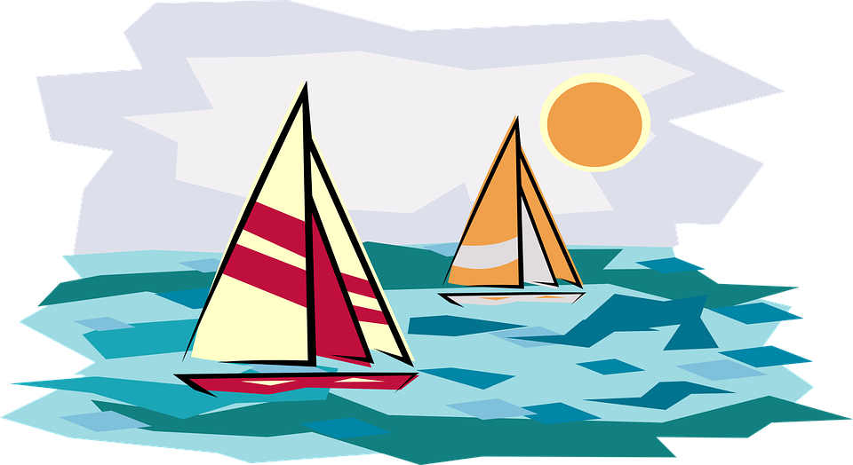 clip art black and white library Yacht clipart small. Horizon sailboat sunset free