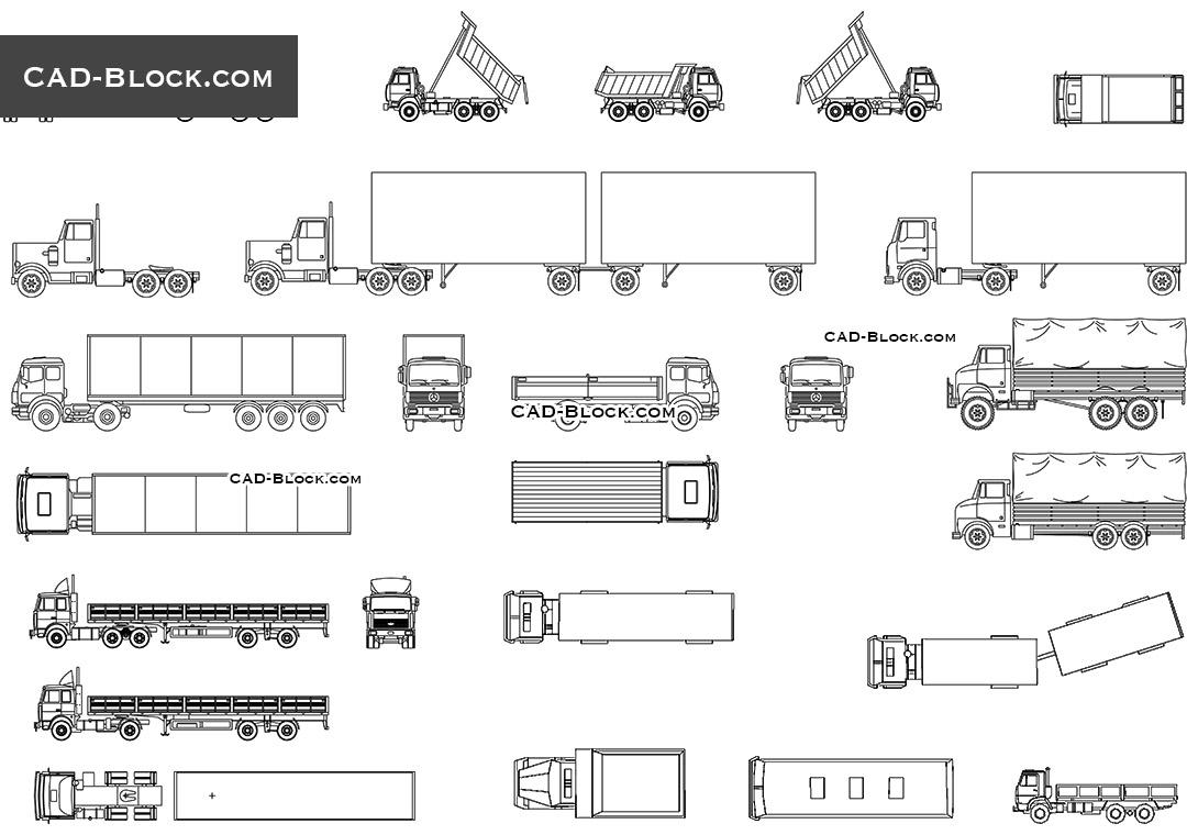 clip art library download Trucks autocad blocks free. Trailer drawing cad