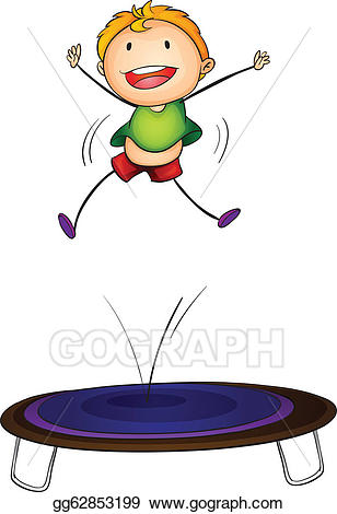 vector royalty free library Jumping clipart trampoline. Vector stock kid illustration.