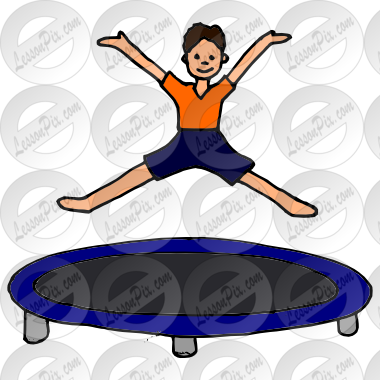 black and white stock Trampoline clipart. Picture for classroom therapy.