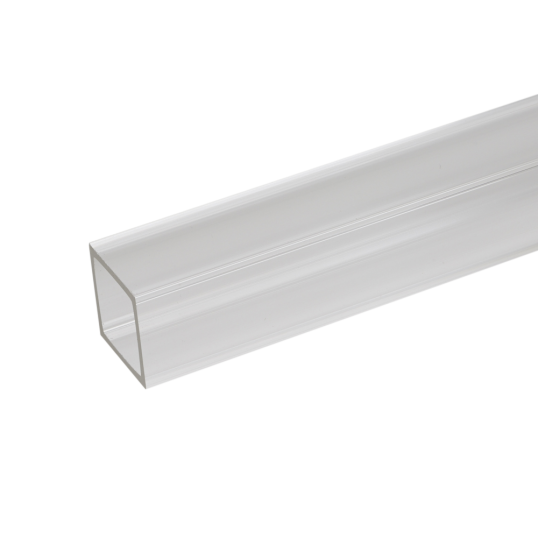 freeuse stock Extruded clear square tube. Transparent acrylic translucent