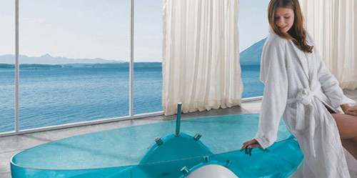 png royalty free Design made of blue. Transparent bathtub futuristic.