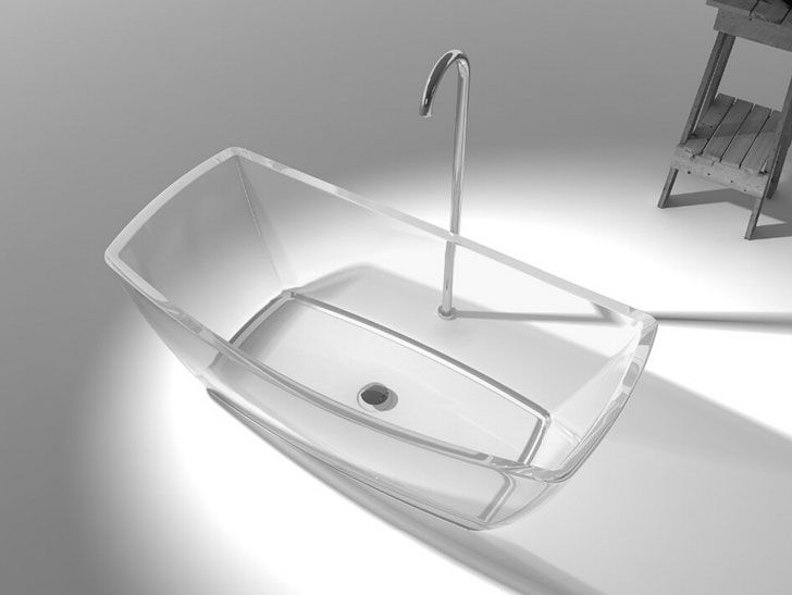banner transparent stock Transparent bathtub lucite. Clear bathroom acrylic tub.