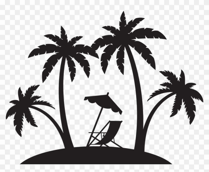 clipart freeuse stock Beach transparent black and white. The png pluspng palm