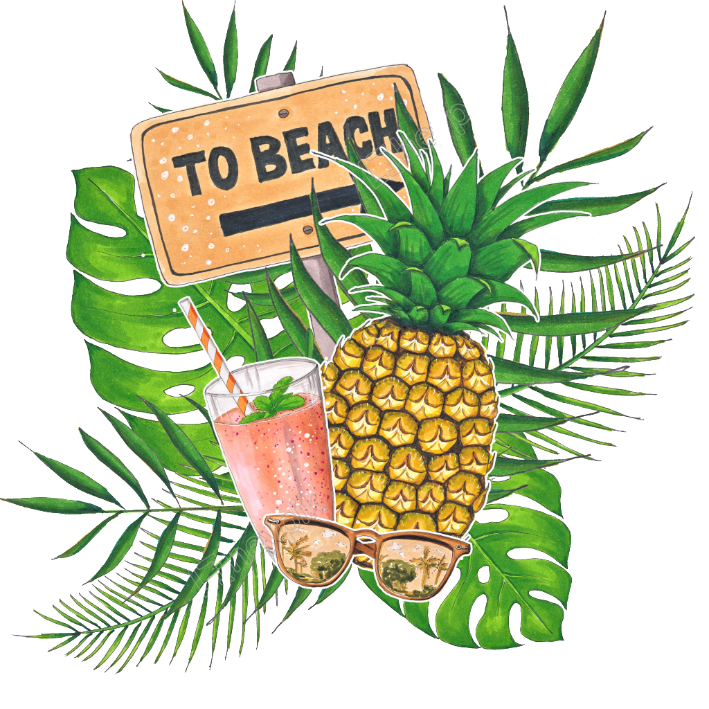 png royalty free stock Hand painted tropical drink. Beach transparent fruit