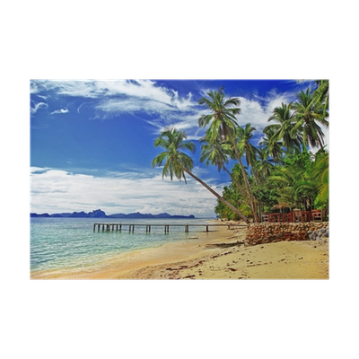 banner free library peaceful tropical beach scenery Poster