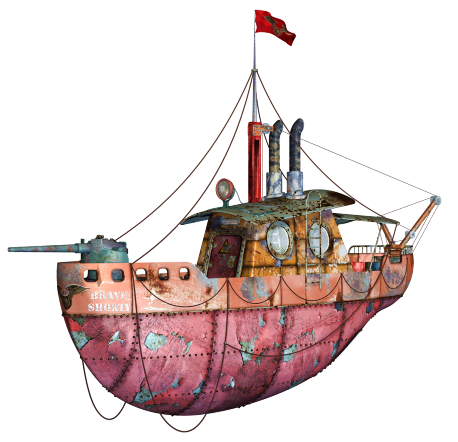 banner freeuse library Steampunk Flying Tug Boat