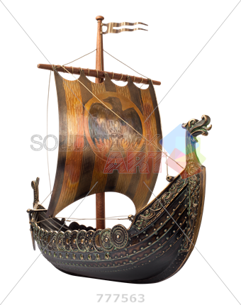 png Stock Photo of Viking ship isolated on transparent vertical background