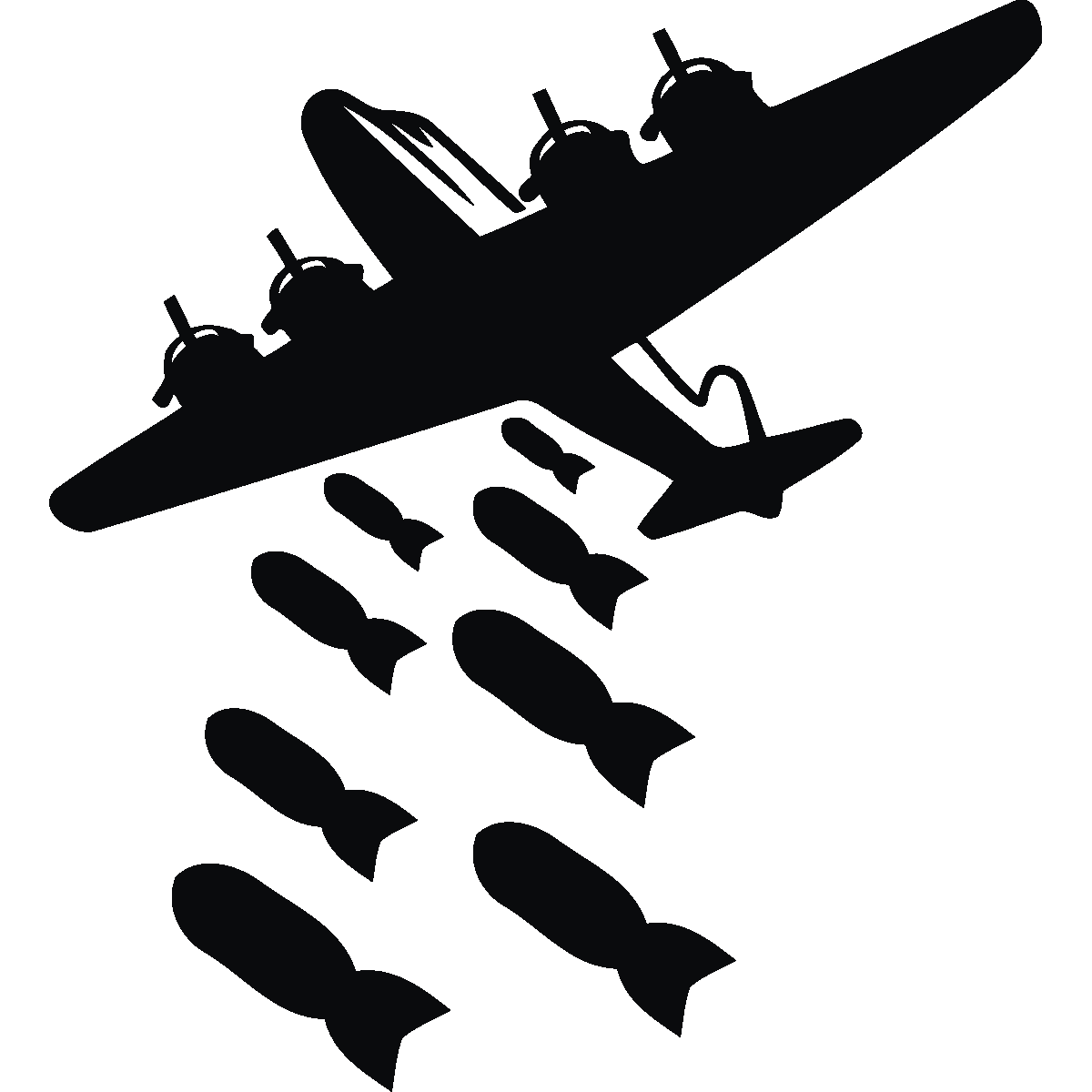 freeuse Transparent bomb bomber. Decal airplane sticker nuclear