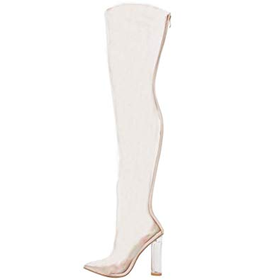 clipart freeuse stock Themost Womens Clear Perspex Over Knee Boots Transparent Lucite High Heel  Shoes Back Zip