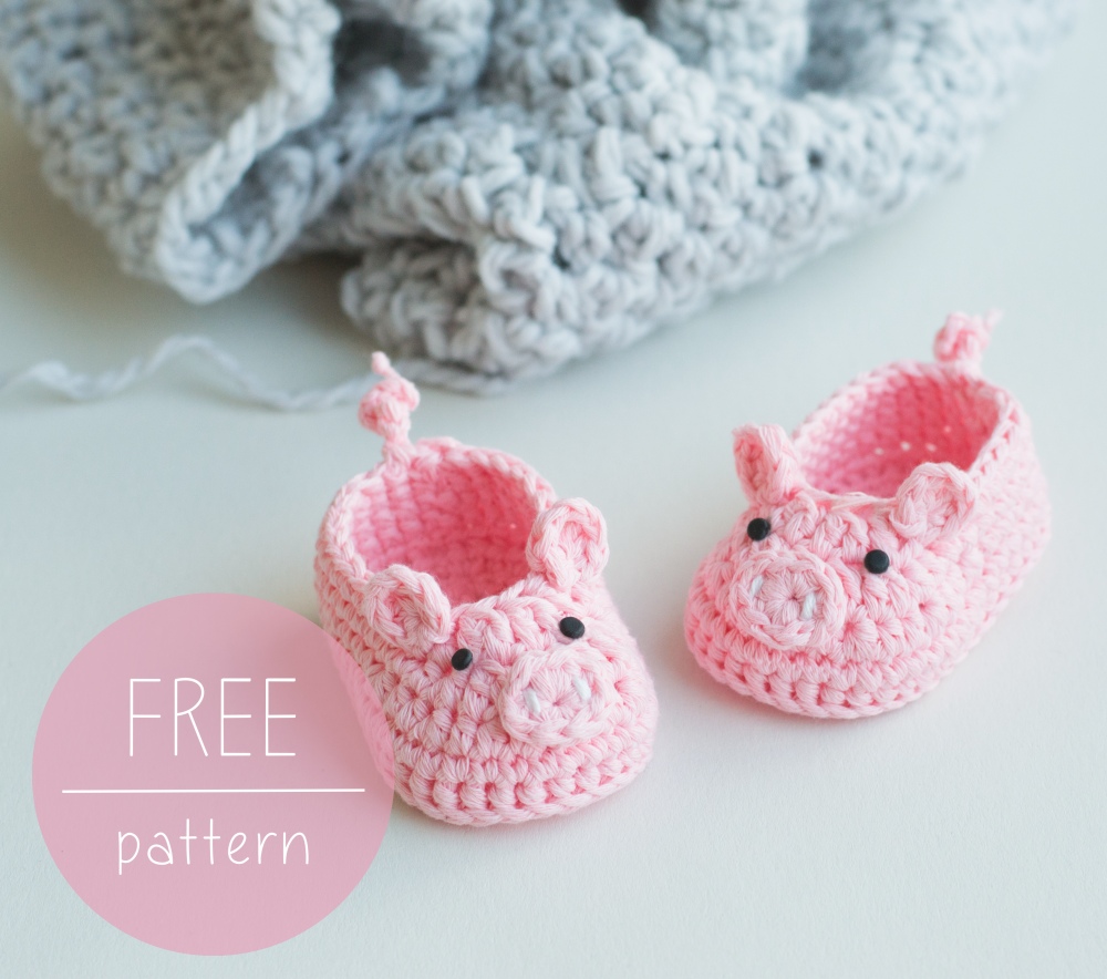 free stock Free Crochet Pattern Piggy Baby Booties