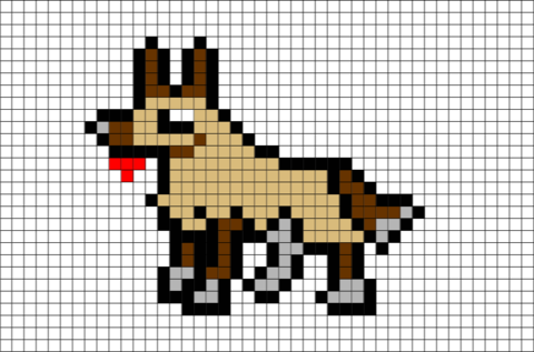 graphic transparent library German Shepherd Pixel Art