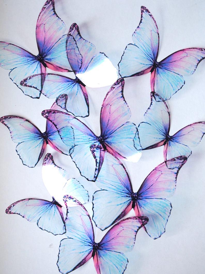 vector royalty free Transparent butterflies. Frozen blue d butterfly