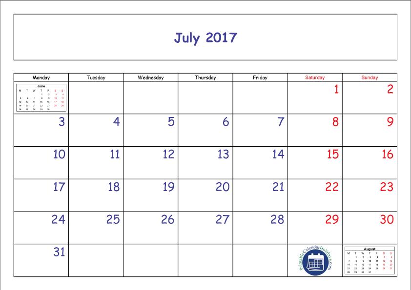 clipart royalty free stock Printable. Transparent calendar july 2017