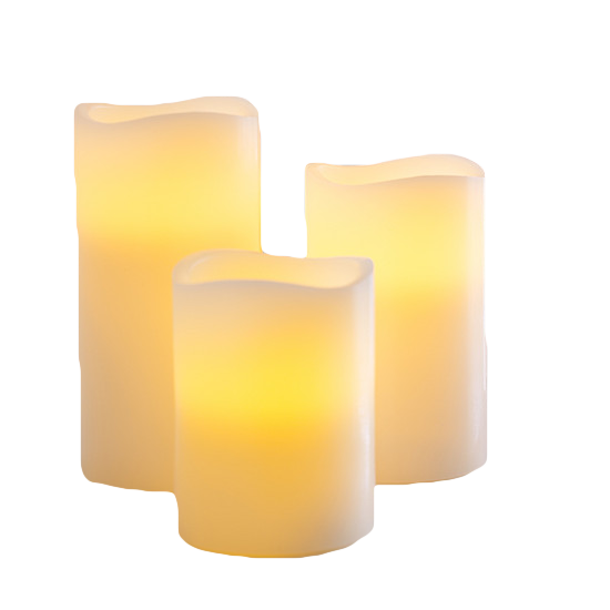 picture freeuse stock Set of pillar candles. Transparent candle electric