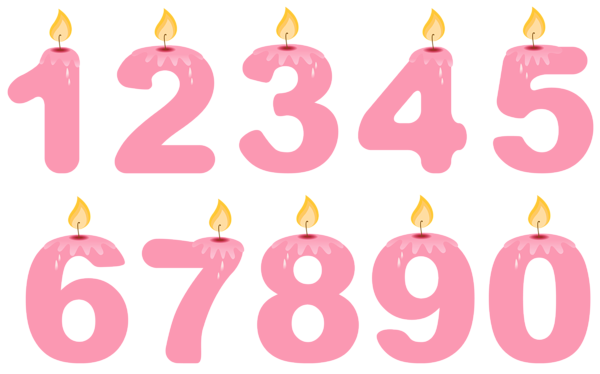 clip art black and white stock Transparent candle number. Numbers birthday candles pink
