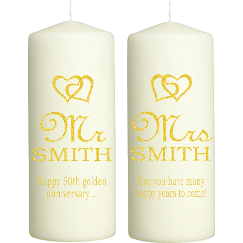 graphic black and white library Transparent candle wedding. Golden anniversary candles personalised