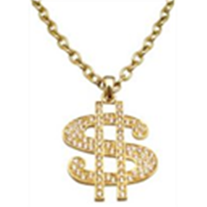 graphic library stock Bling transparent pendant.  gold chain dollar