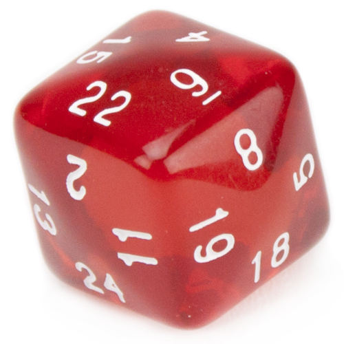 library Transparent dice red translucent.  sided with white