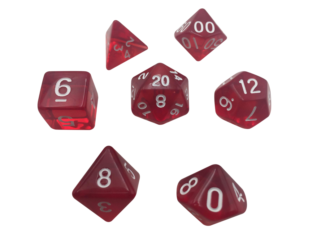 clipart transparent stock Color pack of polyhedral. Transparent dice red translucent