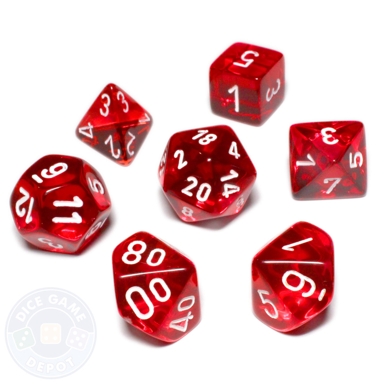 royalty free library Polyhedral set . Transparent dice red