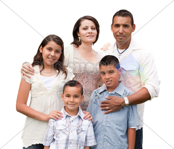royalty free library Stock Photo of Young hispanic family of five wearing blue and white