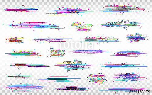 image transparent library Transparent glitch. Elements set color distortions.