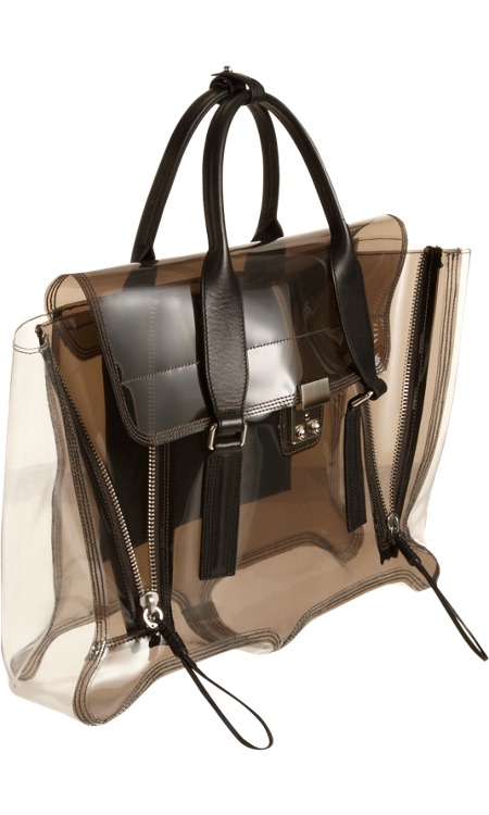 picture library stock  phillip lim pashli. Transparent handbag clear