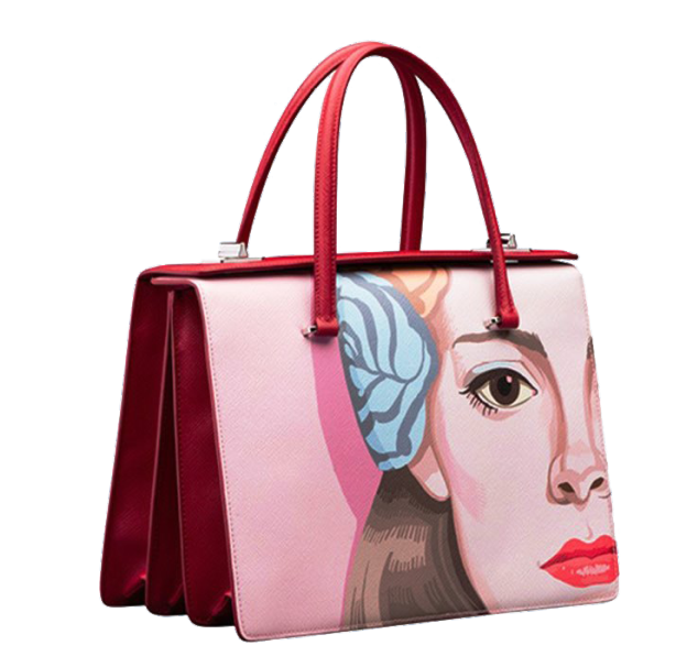 vector freeuse Prada Pink designer handbag transparent background
