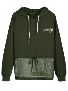 free stock Drawstring Netted Graphic Hoodie ARMY GREEN