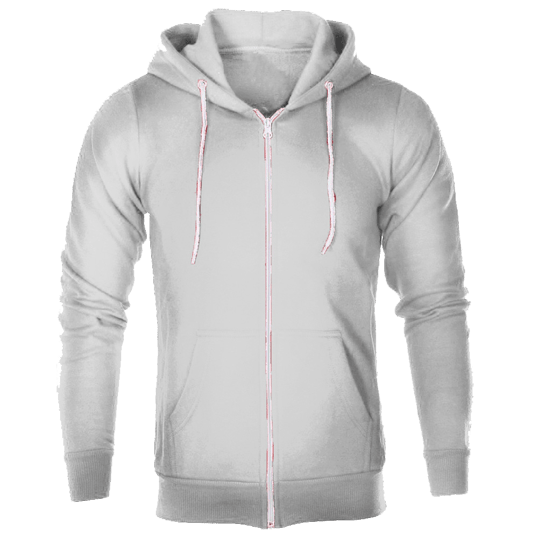 svg Plain White Hoodie Jacket with zipper