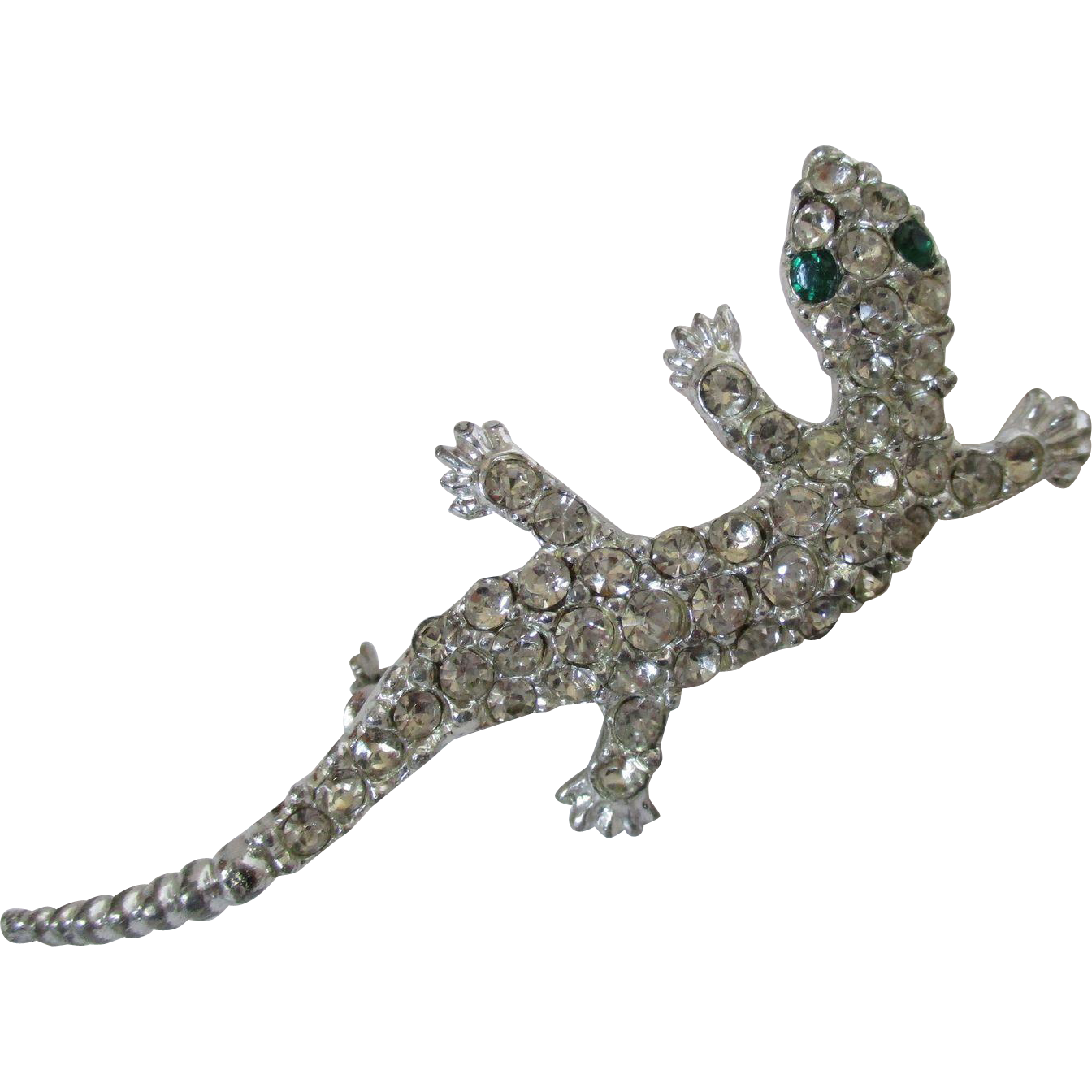 picture transparent download Clear Rhinestone Encrusted Small Lizard or Gekko Pin Vintage