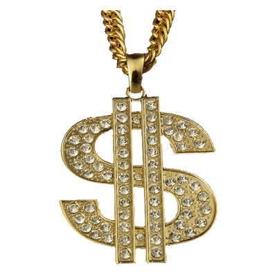 clip Thug life dollar sign. Bling transparent necklace